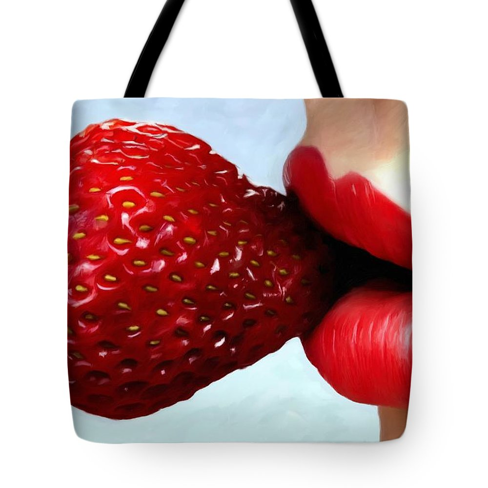 Lips Tote Bag featuring the digital art Strawberry and Lips by Gabriel T Toro