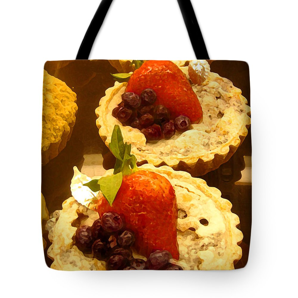 Food Tote Bag featuring the painting Strawberry Blueberry Tarts by Amy Vangsgard
