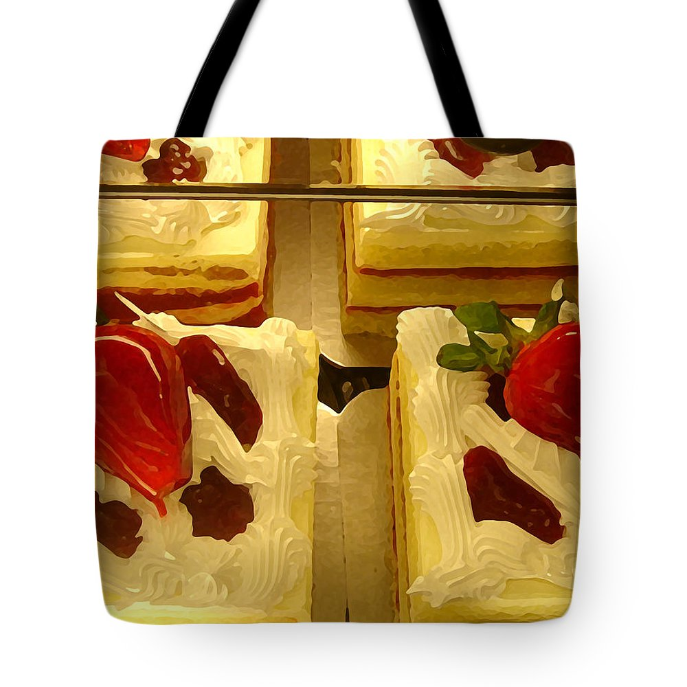 Kitchen Tote Bag featuring the painting Strawberry Cakes by Amy Vangsgard