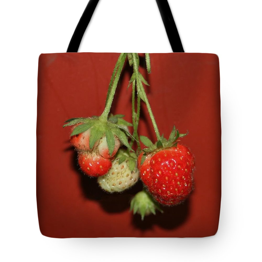 Strawberries Tote Bag featuring the photograph Strawberry Delicious by Barbara S Nickerson