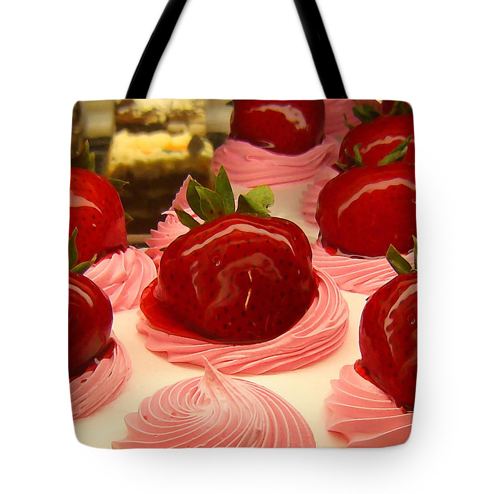 Food Tote Bag featuring the painting Strawberry Mousse by Amy Vangsgard