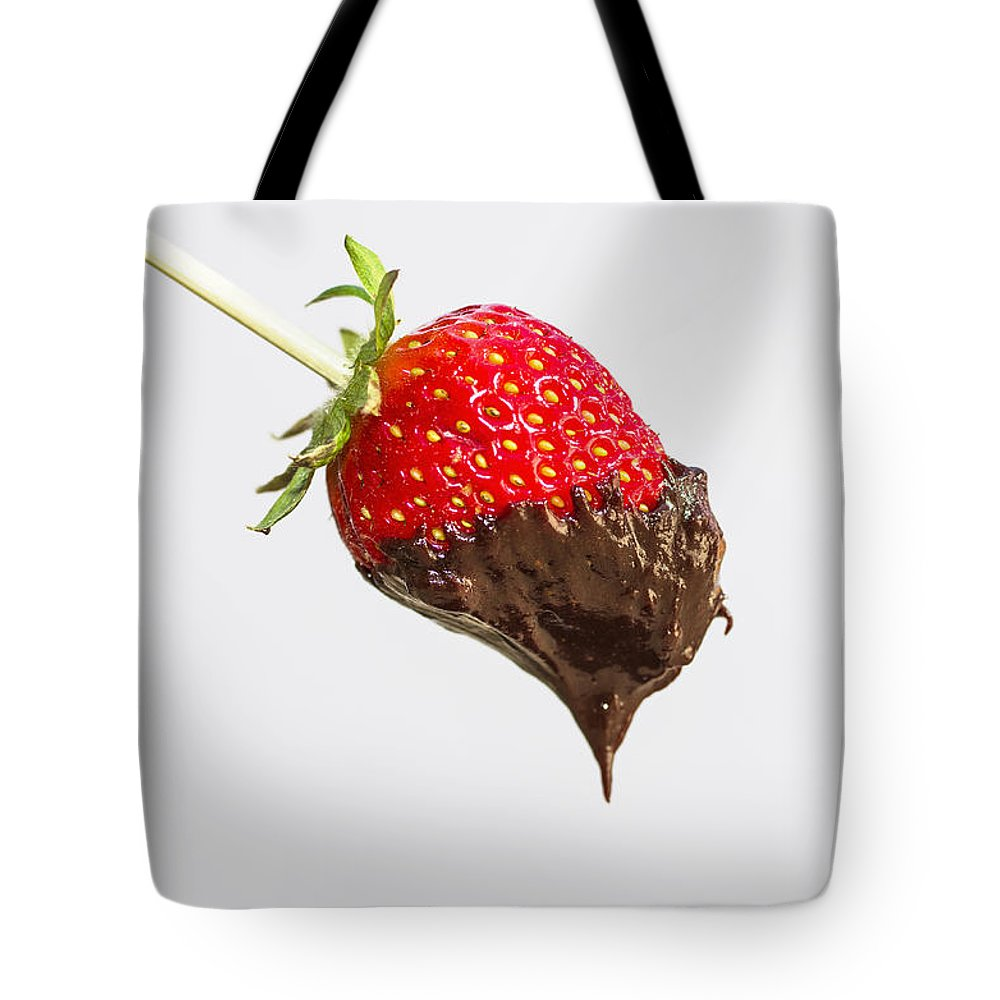 Dessert Tote Bag featuring the photograph Strawberry With Chocolate by Paulo Goncalves