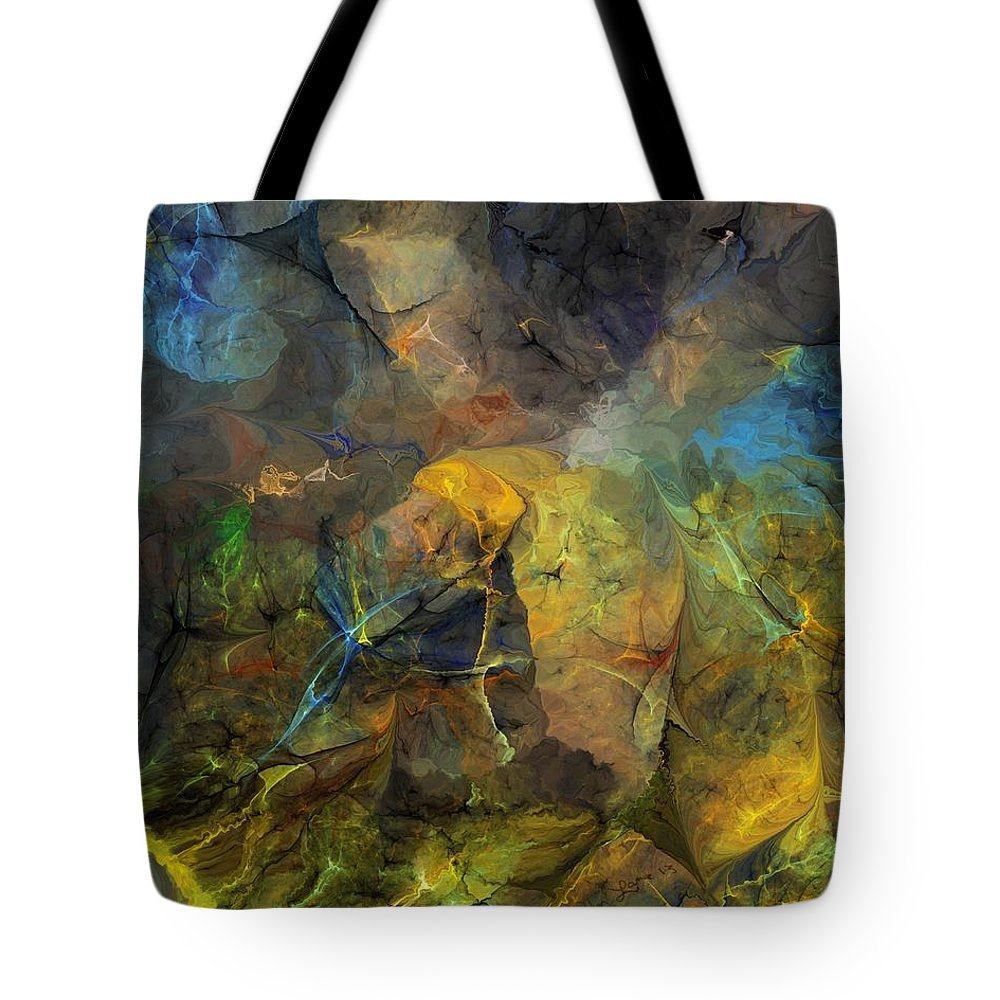 Fine Art Tote Bag featuring the digital art Stream Bed On A Sunny Day by David Lane
