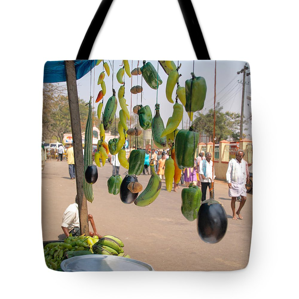 Food Stall Tote Bag featuring the digital art Street Food Vender by Carol Ailles