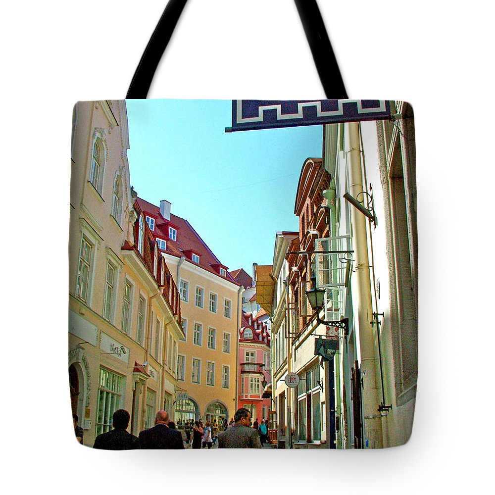 Street In Old Town Tallinn Tote Bag featuring the photograph Street In Old Town Tallinn-estonia by Ruth Hager