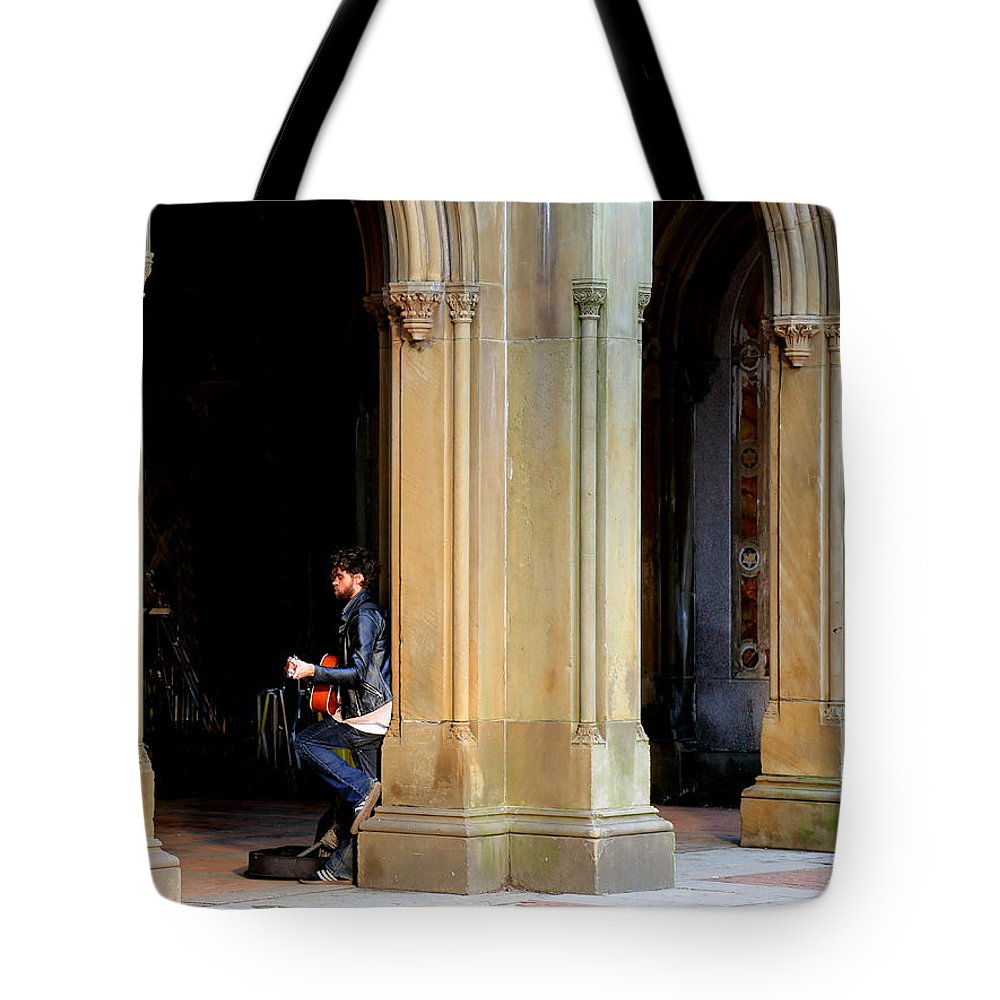 Street Musician Tote Bag featuring the photograph Street Musician 4 by Andrew Fare