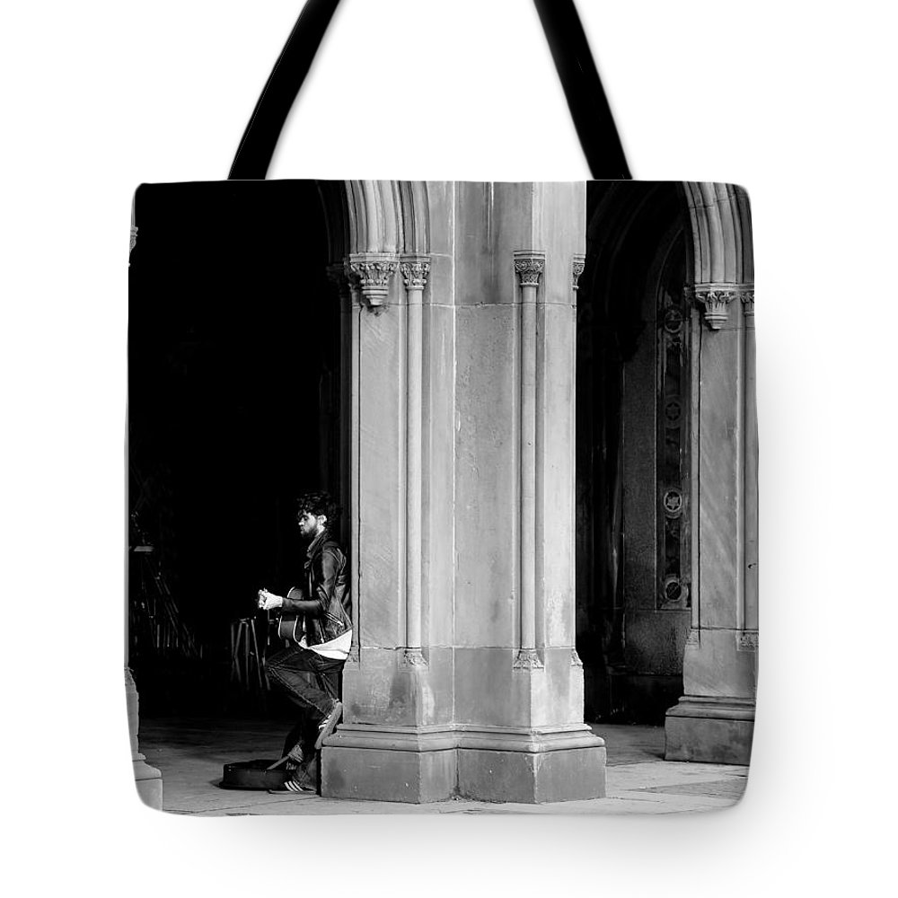 Street Musician Tote Bag featuring the photograph Street Musician 4b by Andrew Fare