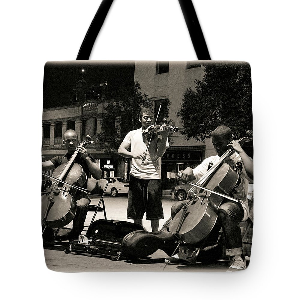 Plaza Street Musicians Tote Bag featuring the photograph Street Musicians 2 by Sennie Pierson