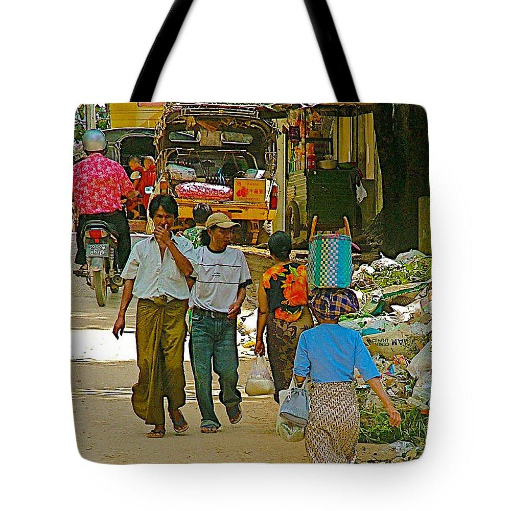 Street Scene In Tachilek Tote Bag featuring the photograph Street Scene In Tachilek-burma by Ruth Hager