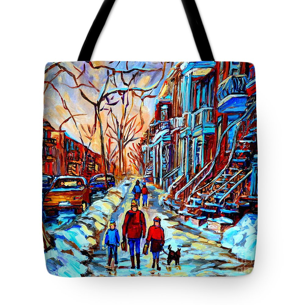 Montreal Tote Bag featuring the painting Streets Of Montreal by Carole Spandau