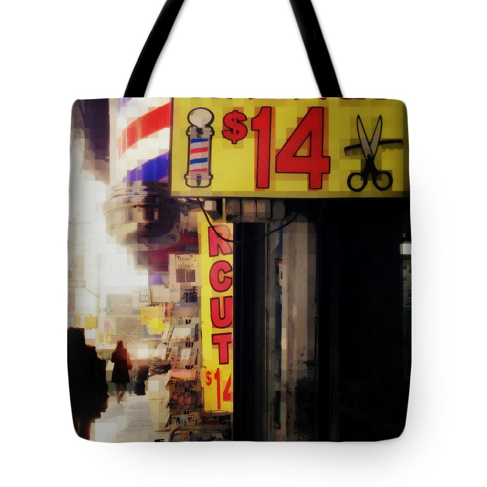 Street Sign Tote Bag featuring the photograph Streets Of New York - Haircut 14 Dollars by Miriam Danar