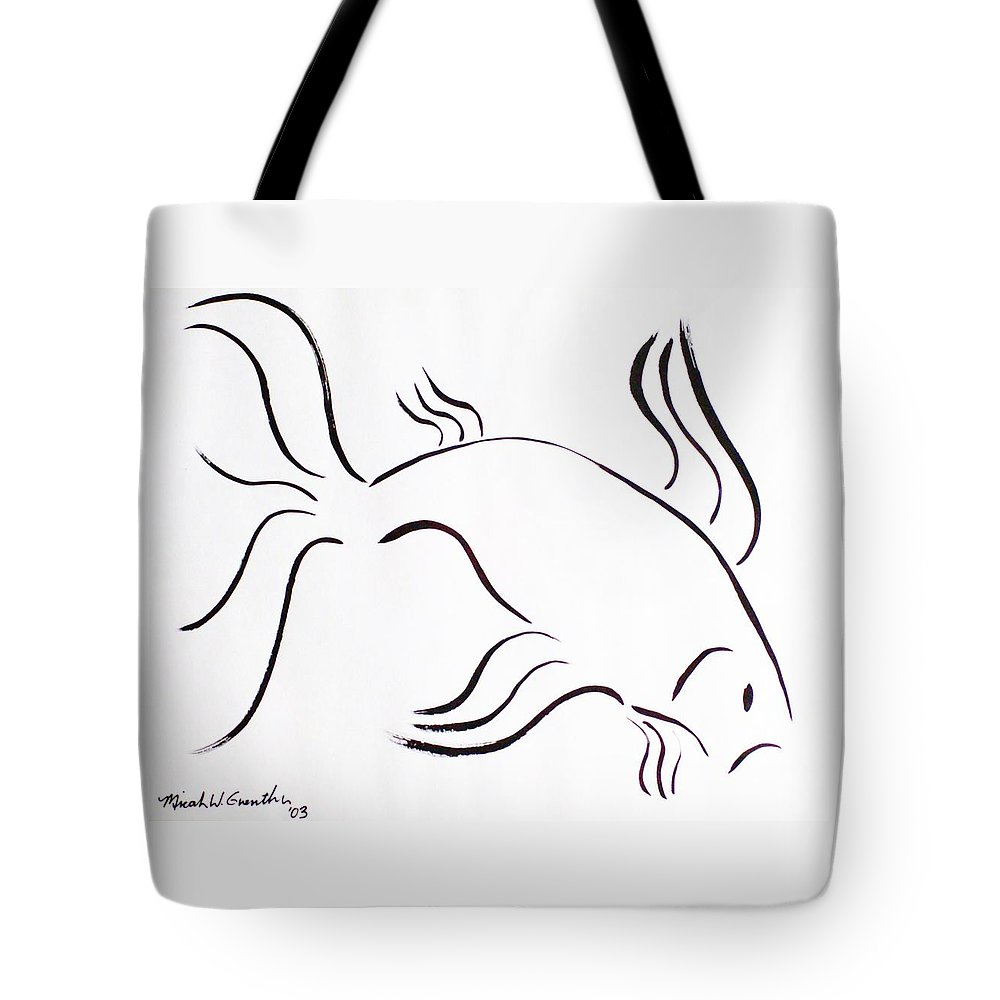 Abstract Tote Bag featuring the drawing Strength by Micah Guenther