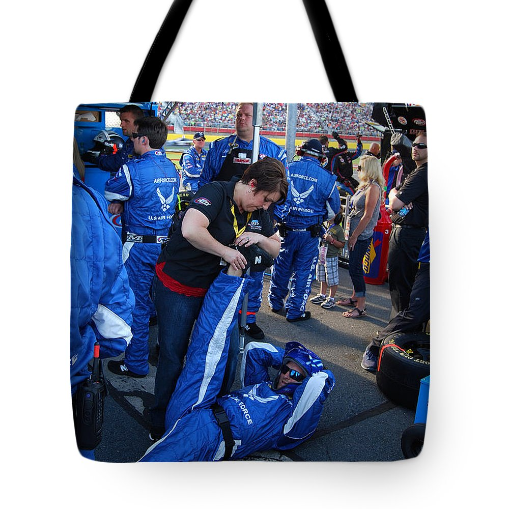 Nascar Tote Bag featuring the photograph Stretchin' It Out In The Pits by Mark Spearman