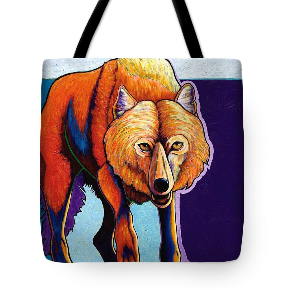 Contemporary Tote Bag featuring the painting Strictly Business - Arctic Wolf by Joe Triano