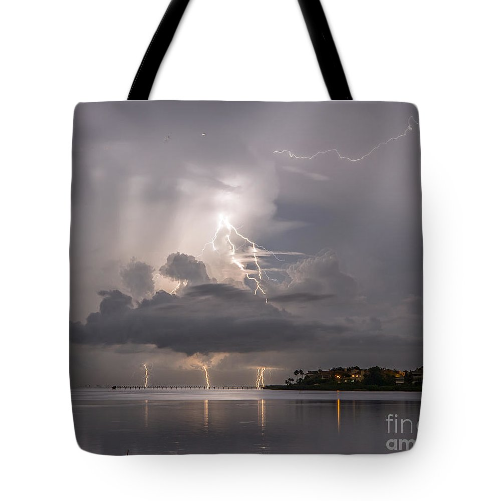 Bolts Tote Bag featuring the photograph Striking Ozona by Stephen Whalen