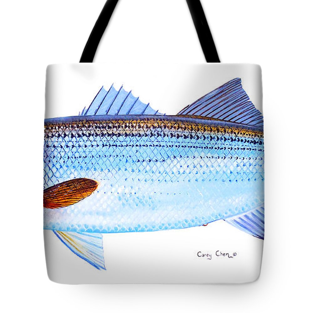 Striped Bass Tote Bag featuring the painting Striped Bass by Carey Chen