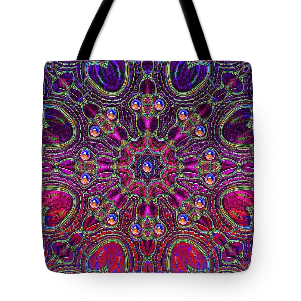 Red Tote Bag featuring the digital art Strong Connection- by Robert Orinski