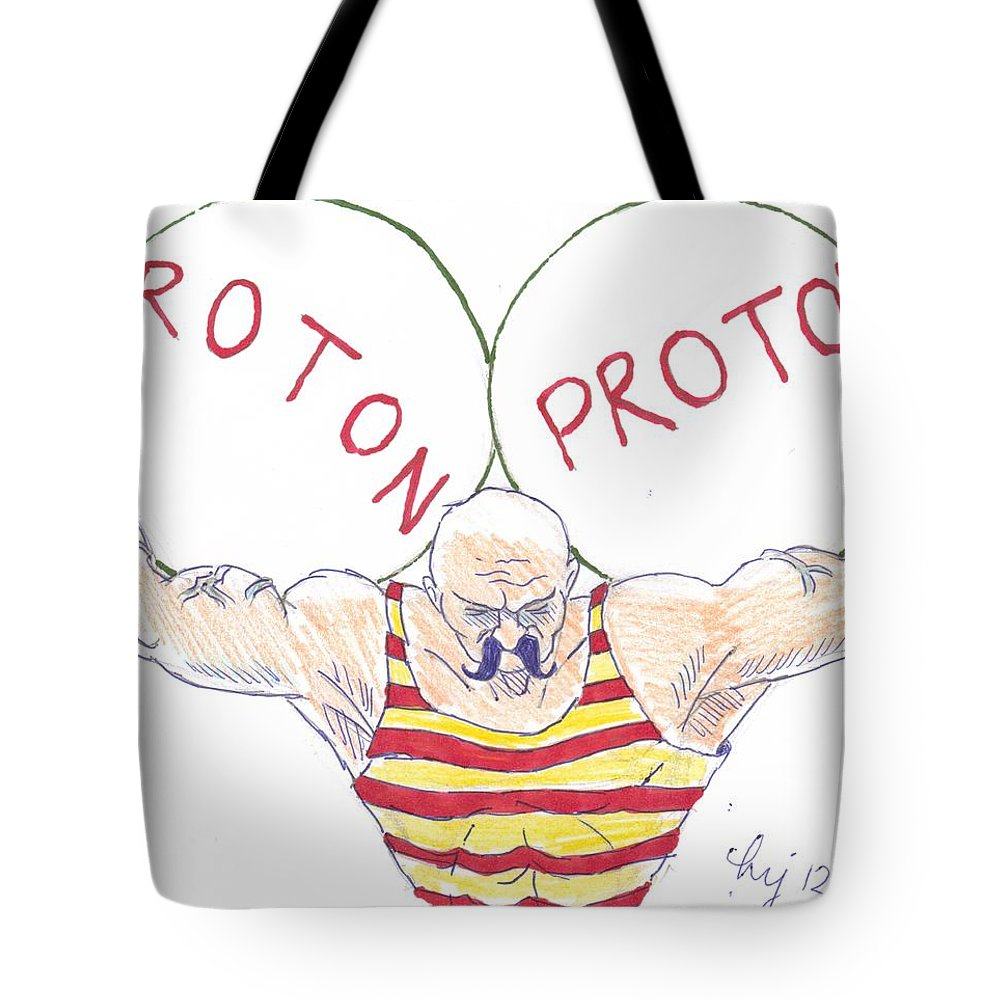 Tote bag drawing - Strong Tote Bag Featuring The Drawing Strong Nuclear Force By Mike Jory