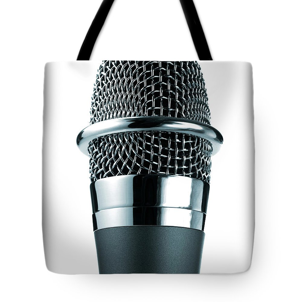 White Background Tote Bag featuring the photograph Studio Shot Of Microphone On White by David Arky