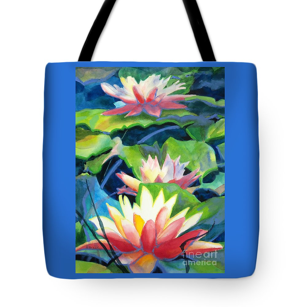 Painting Tote Bag featuring the painting Styalized Lily Pads 3 by Kathy Braud