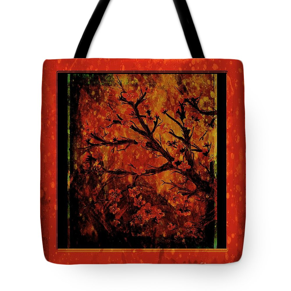 Stylized Cherry Tree With Old Textures And Border Tote Bag featuring the painting Stylized Cherry Tree With Old Textures And Border by Barbara Griffin