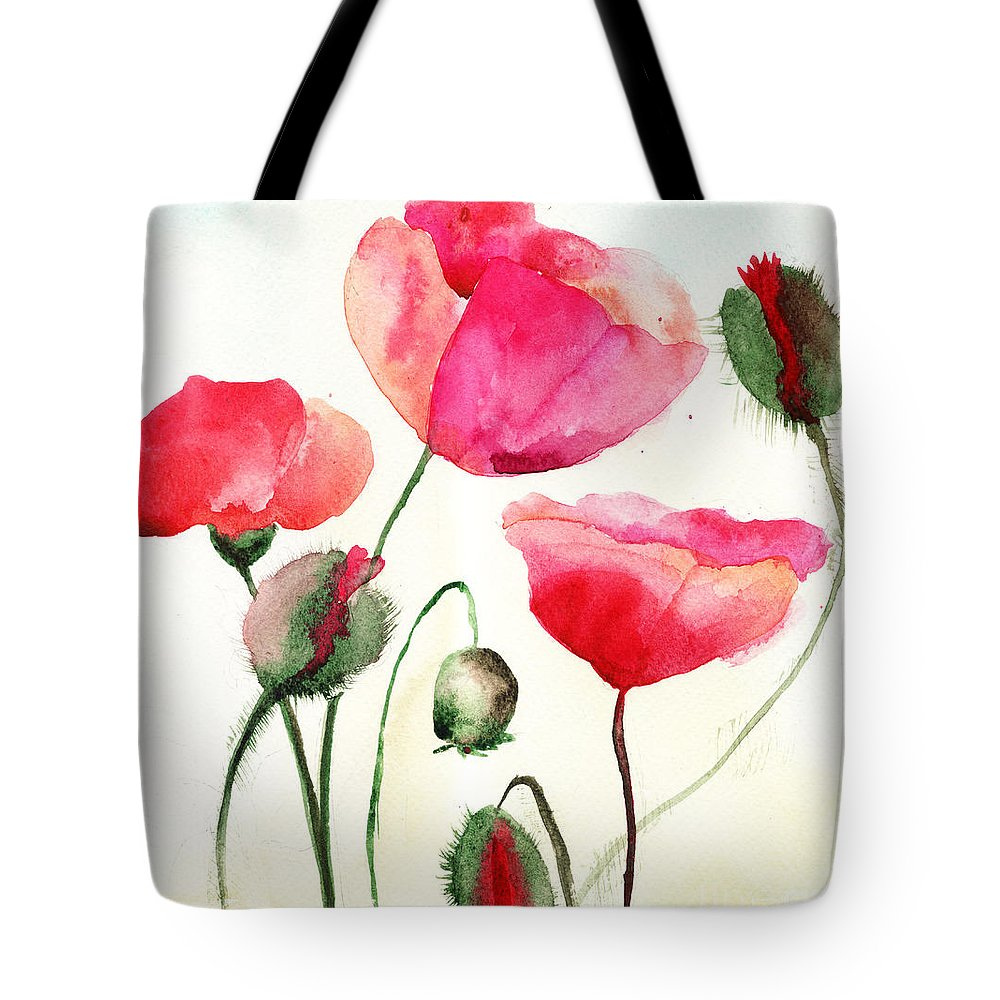 Stylized Poppy Flowers Illustration Tote Bag For Sale By Regina Jershova
