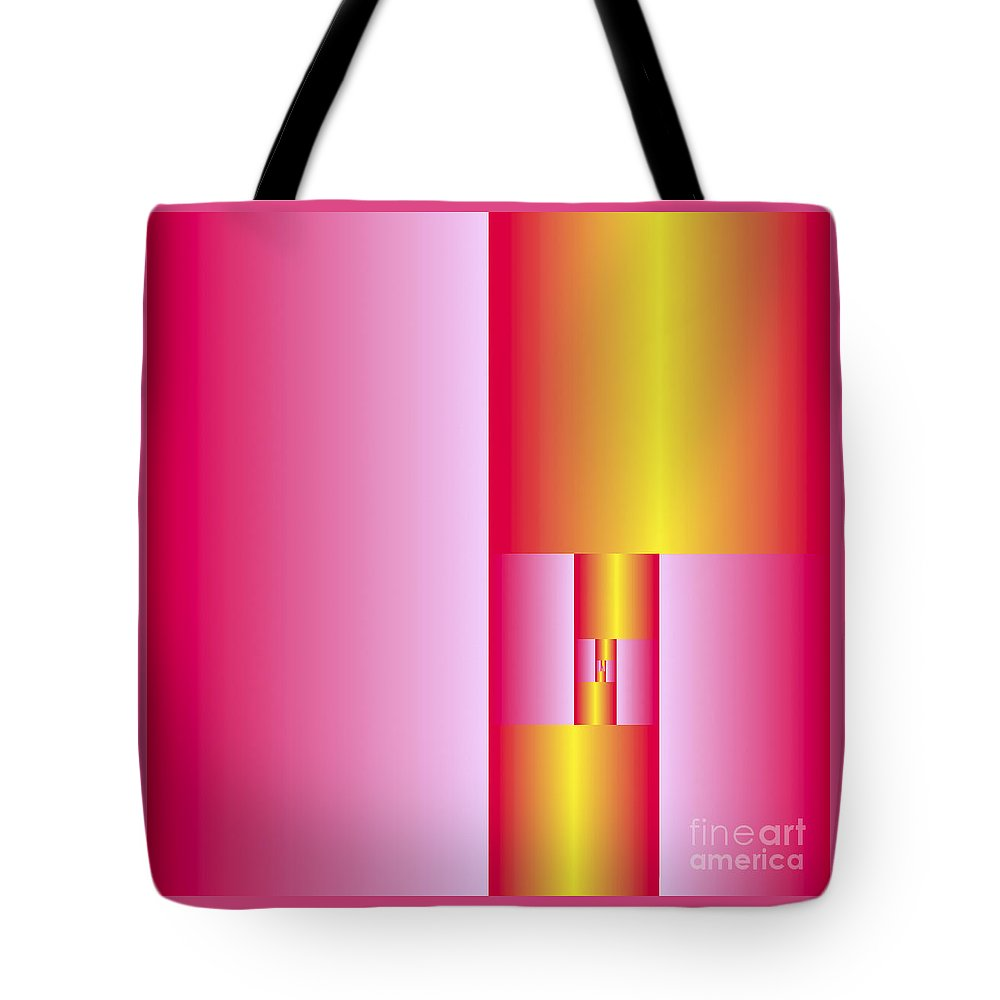 Plane Tote Bag featuring the digital art Subdivisions 2 In Gold And Cerise by Marcus West