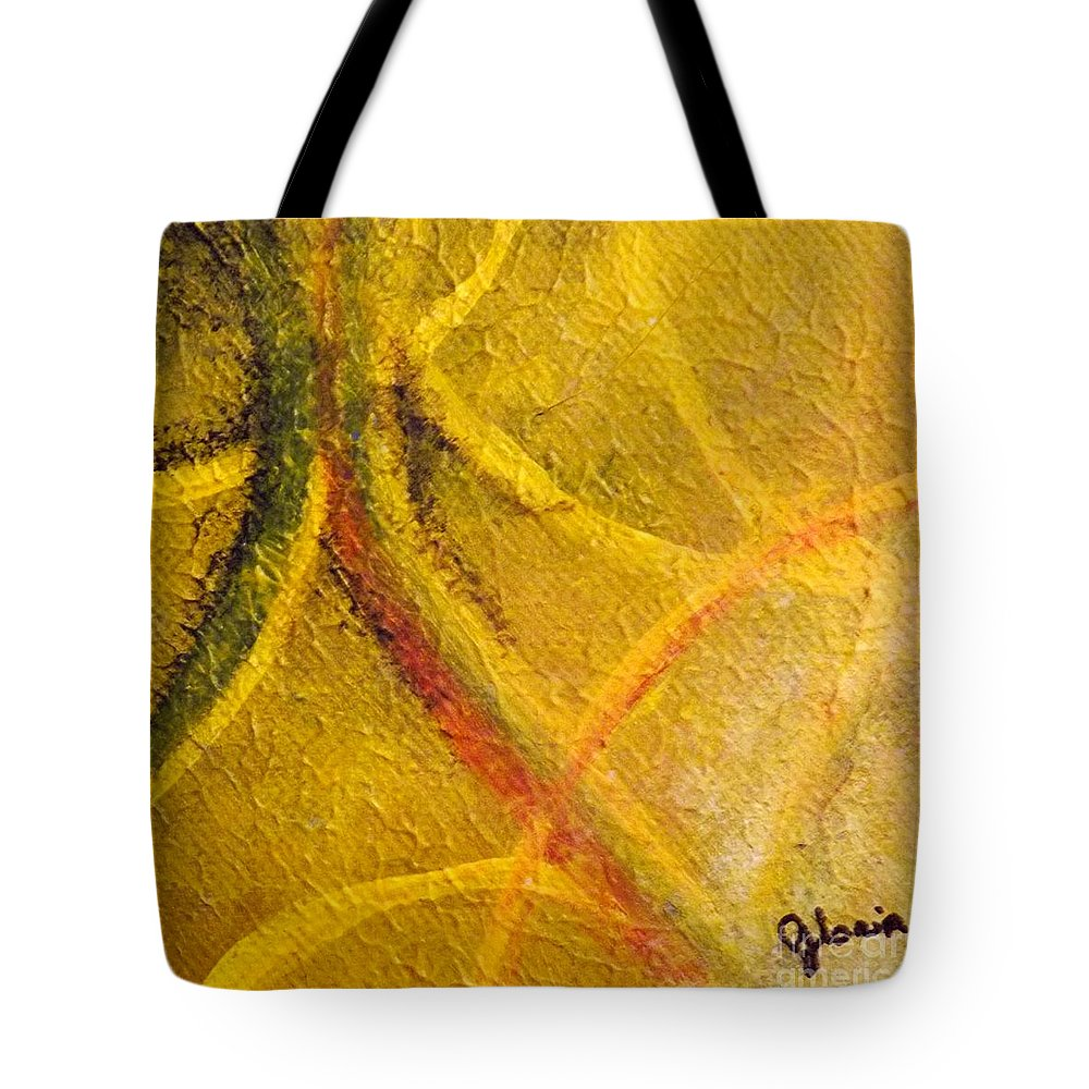Yellow Abstract Tote Bag featuring the painting Subdue by Gr B