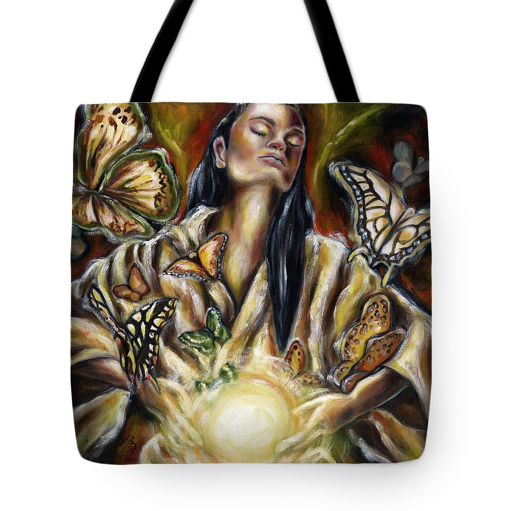 Asian Woman Tote Bag featuring the painting Sublimation by Hiroko Sakai