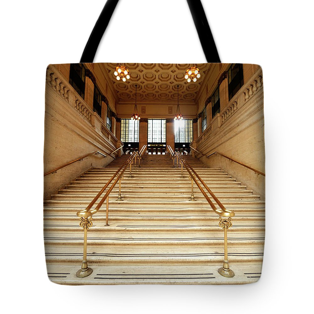 Steps Tote Bag featuring the photograph Subway Station Staircase,chicago by Lisa-blue