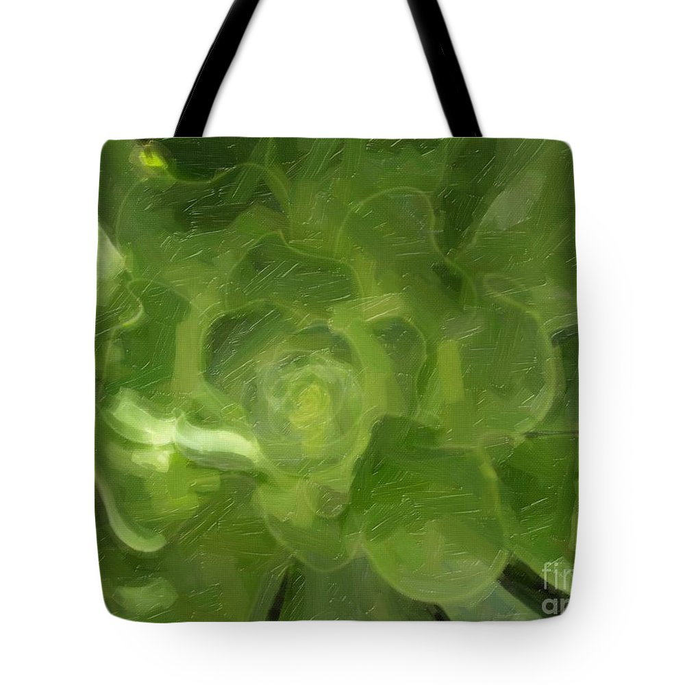 Green Tote Bag featuring the photograph Succulent by Jacklyn Duryea Fraizer