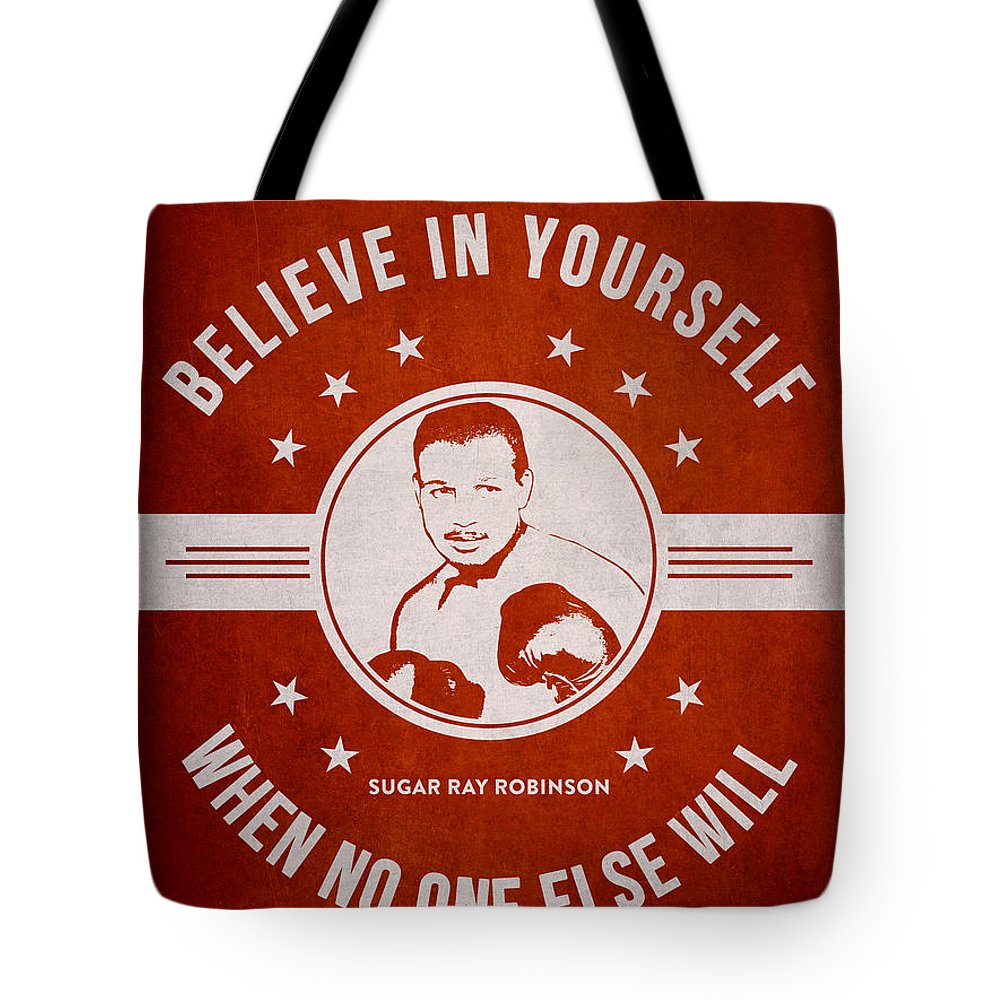 Sugar Ray Robinson Tote Bag featuring the digital art Sugar Ray Robinson - Red by Aged Pixel