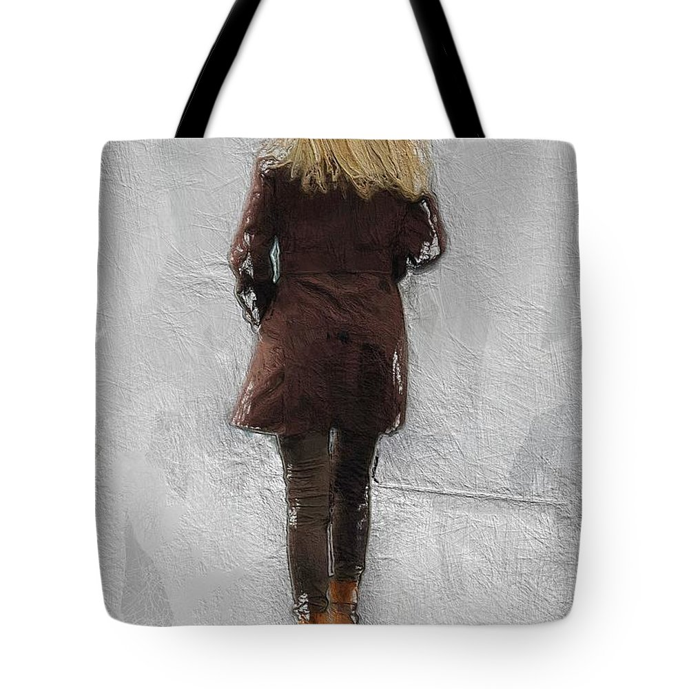 Suicide Blonde Female Woman Girl Sexy Beauty Walking Fog Mist Misty Road Tote Bag featuring the painting Suicide Blonde by Steve K