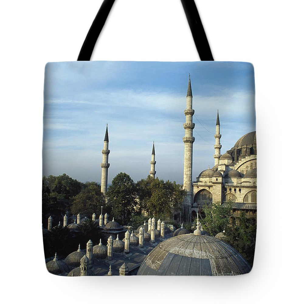 Cityscape Tote Bag featuring the photograph Suleymanhe Mosque, The Bizaar Quarter by Francesca Yorke