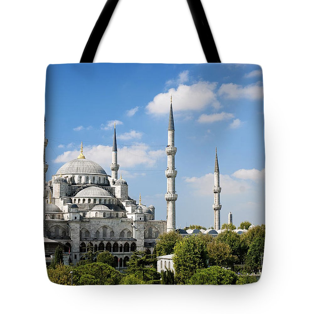 Architecture Tote Bag featuring the photograph Sultan Ahmed Mosque Landmark In Istanbul Turkey by Jacek Malipan