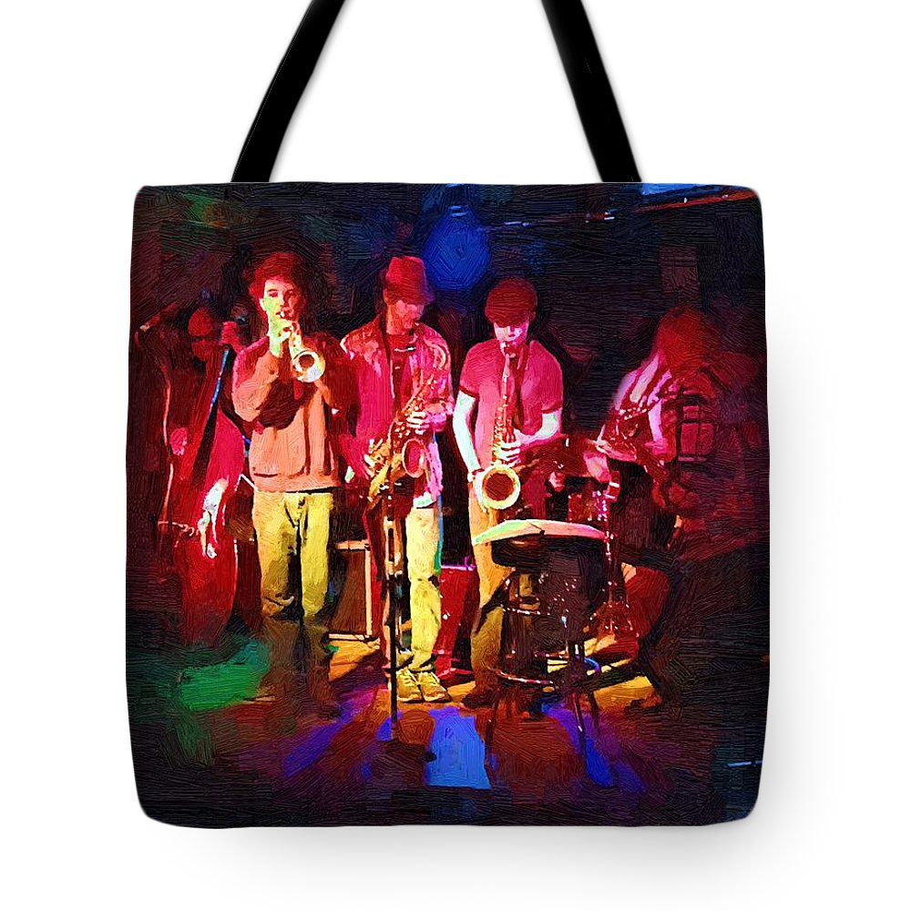 Band Tote Bag featuring the painting Sultans Of Swing by RC DeWinter