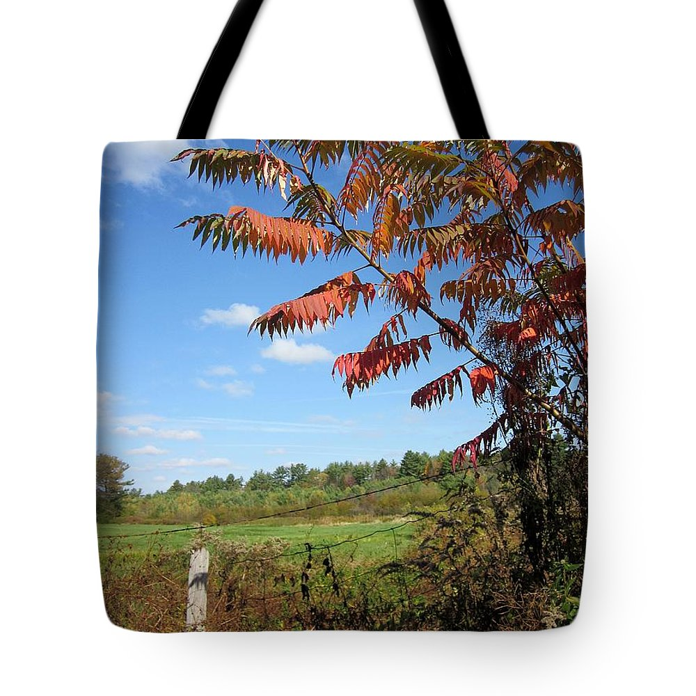Field Tote Bag featuring the photograph Sumac Fence by MTBobbins Photography