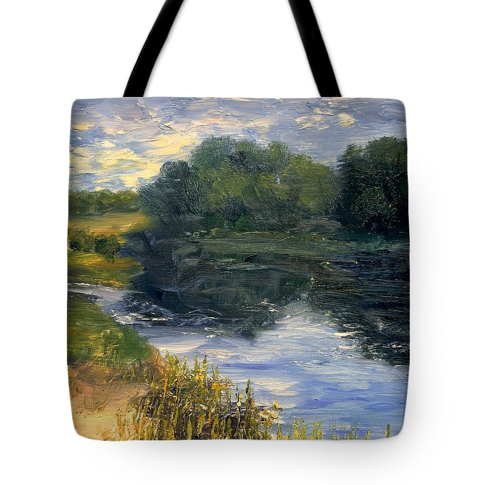 Landscape Tote Bag featuring the painting Summer At Jackson Lake by Gail Kirtz