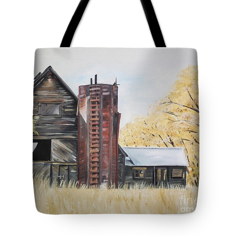 Summer Red Tote Bag featuring the painting Golden Aged Barn -washington - Red Silo by Jan Dappen
