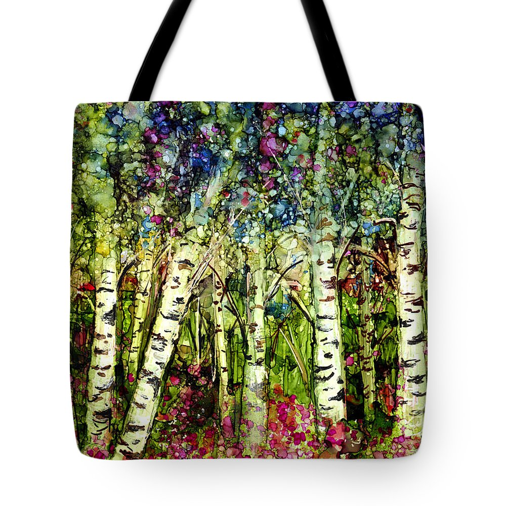 Trees Tote Bag featuring the painting Summer Birch by Francine Dufour Jones