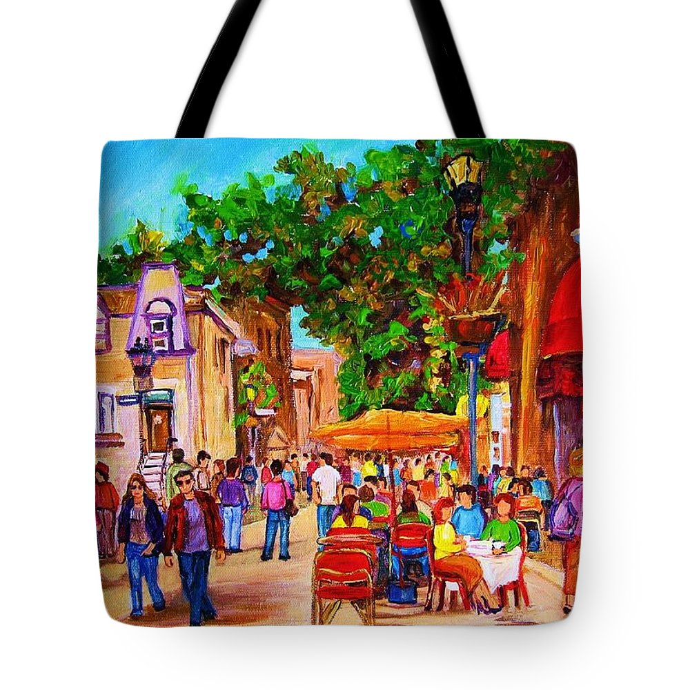 Summer Cafes Montreal Street Scenes Tote Bag featuring the painting Summer Cafes by Carole Spandau