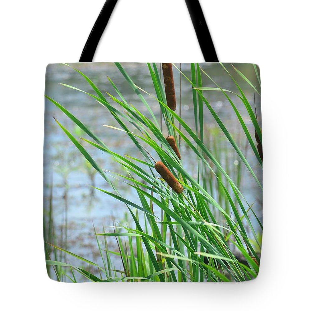 Summer Cattails In The Breeze Tote Bag featuring the photograph Summer Cattails In The Breeze by Maria Urso