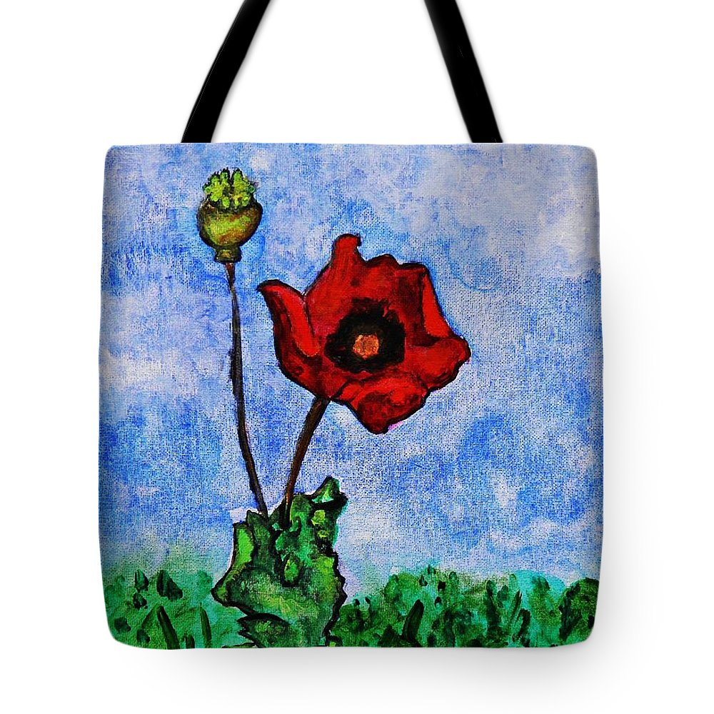 Summer Day Poppy Tote Bag featuring the painting Summer Day Poppy by Sarah Loft
