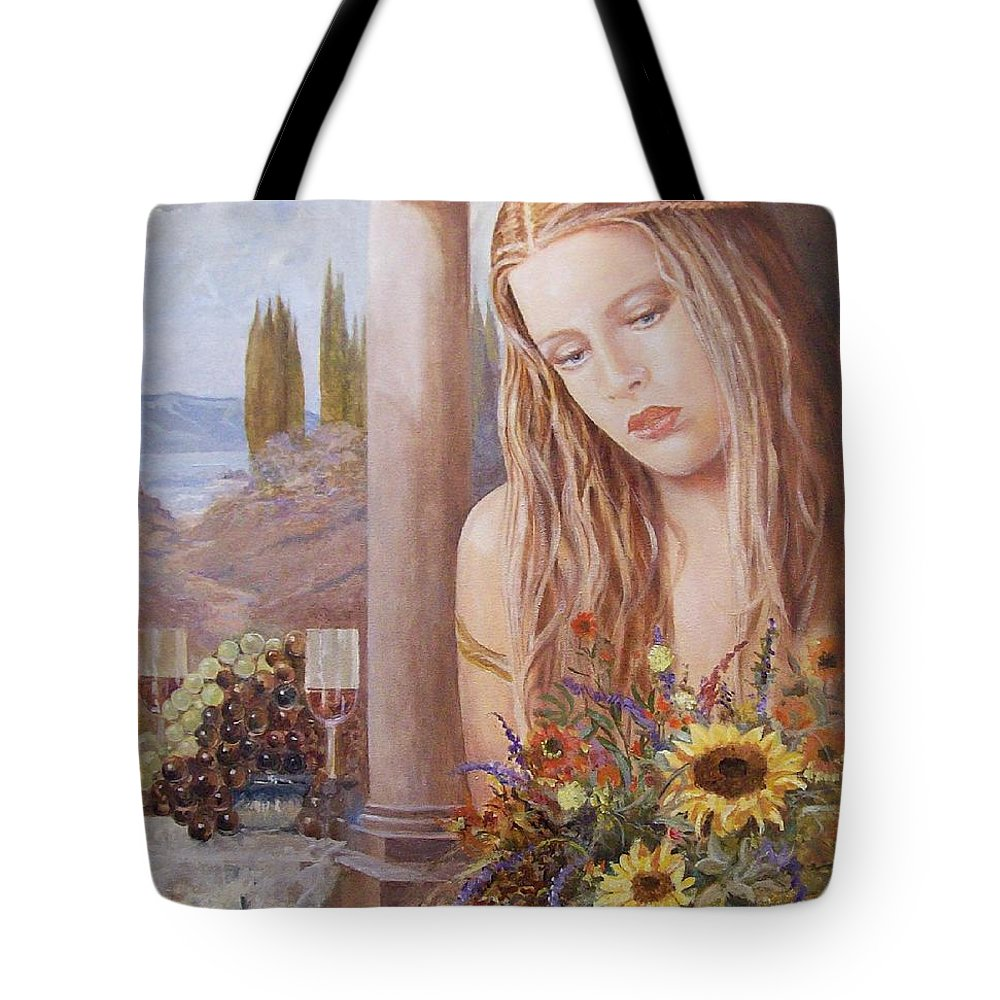 Portrait Tote Bag featuring the painting Summer Day by Sinisa Saratlic