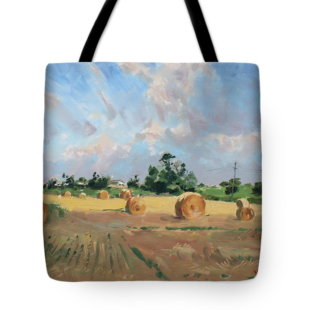 Summer Tote Bag featuring the painting Summer Fields In Georgetown On by Ylli Haruni