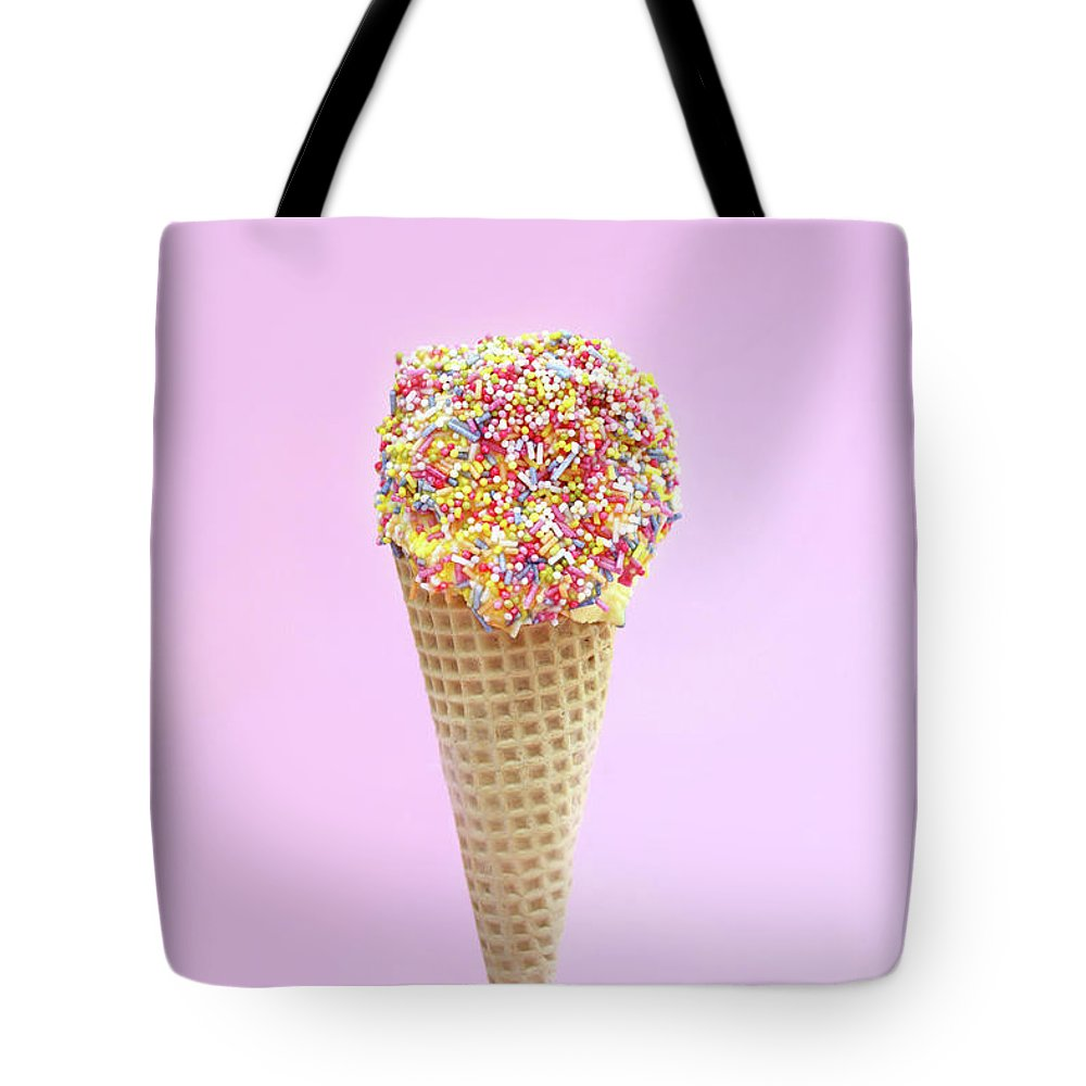 Sprinkling Tote Bag featuring the photograph Summer Ice Cream With Sugar Sprinkles by Kelly Bowden