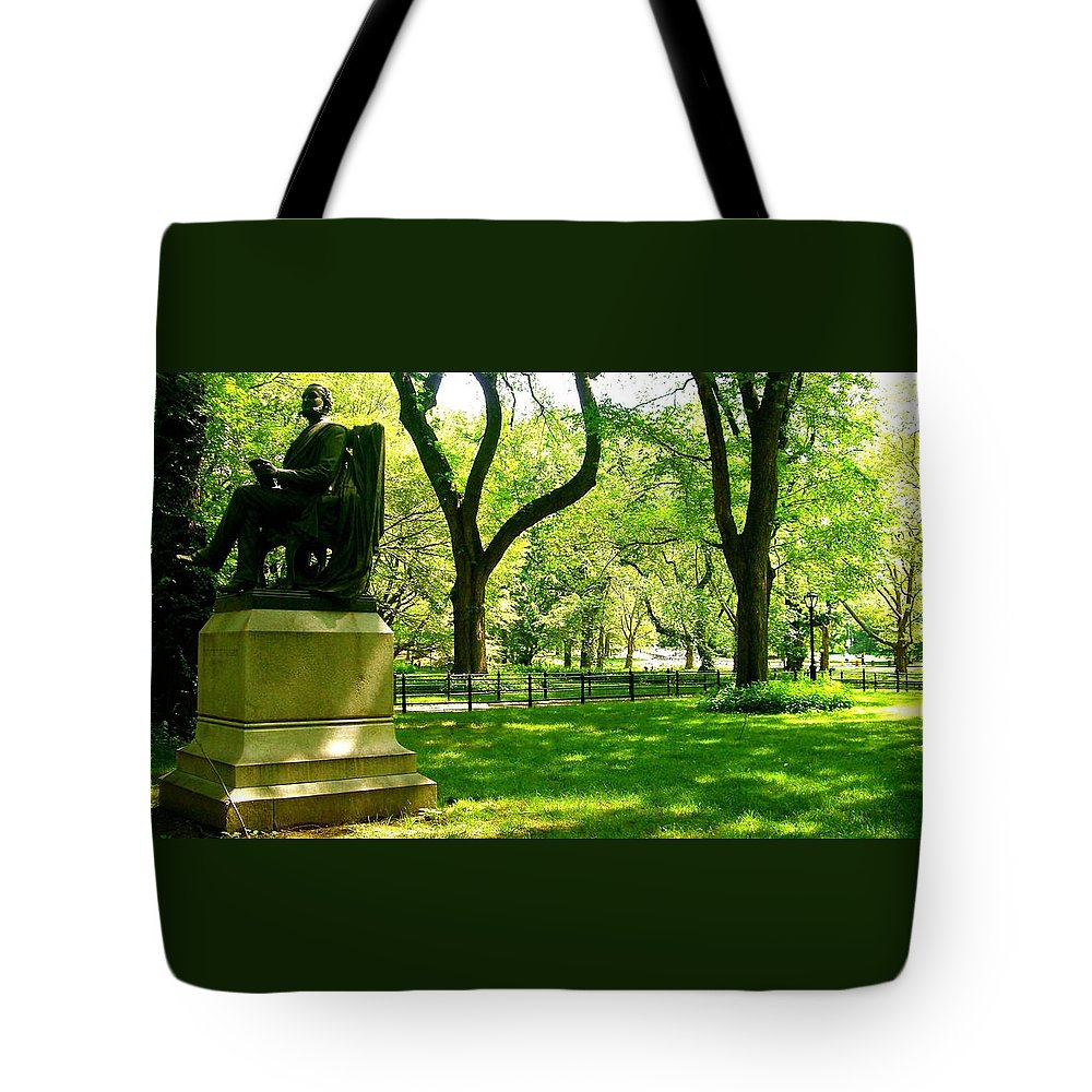 Central Park Prints Tote Bag featuring the photograph Summer In Central Park Manhattan by Monique's Fine Art