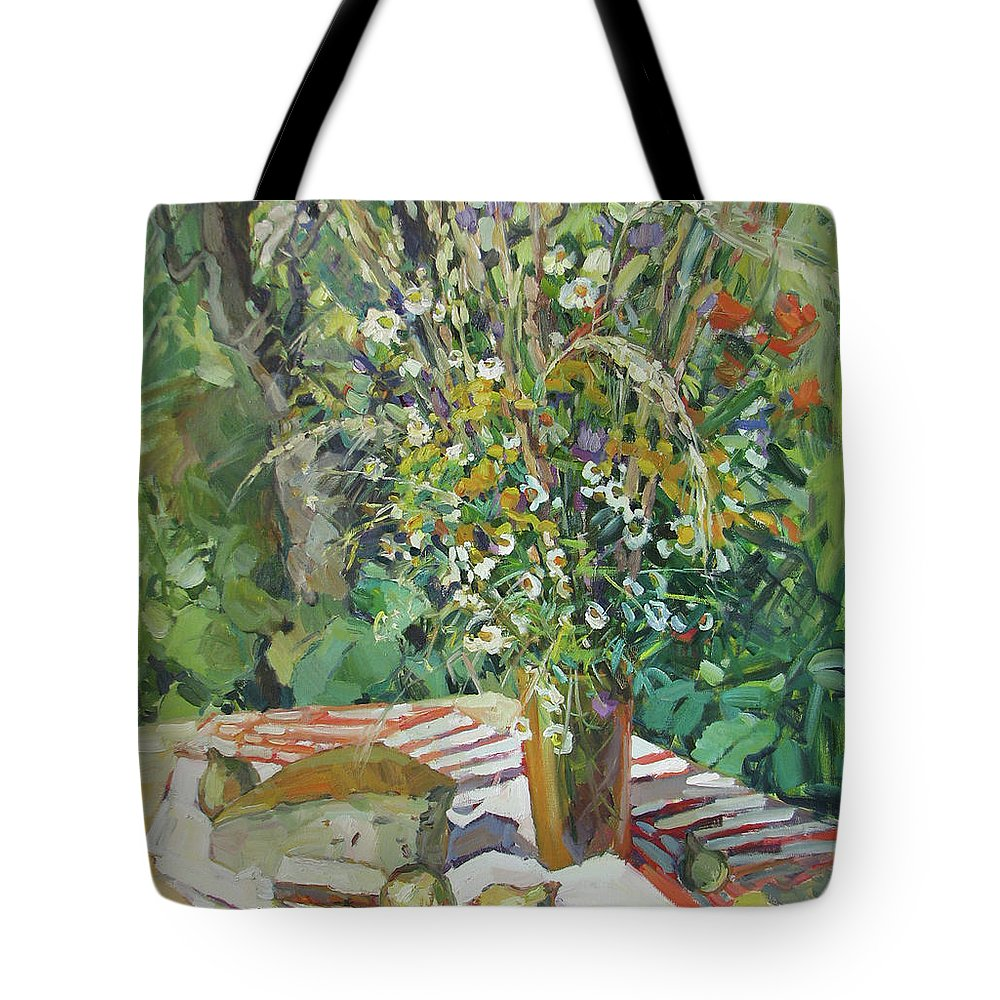 Lowers Tote Bag featuring the painting Summer by Juliya Zhukova