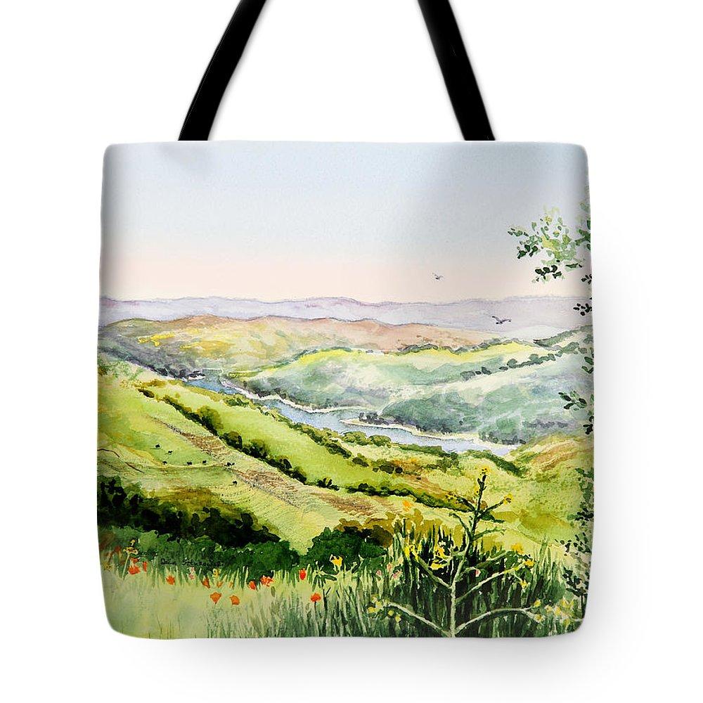 Inspiration Tote Bag featuring the painting Summer Landscape Inspiration Point Orinda California by Irina Sztukowski