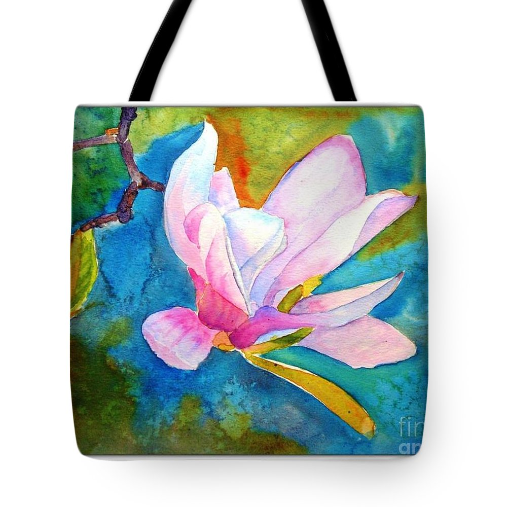 Summer Tote Bag featuring the painting Summer Magnolia by Sarabjit Kaur